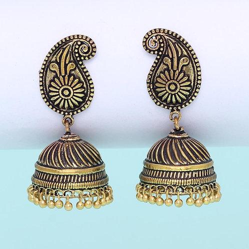 Oxidised Gold Plated Jhumka Earrings