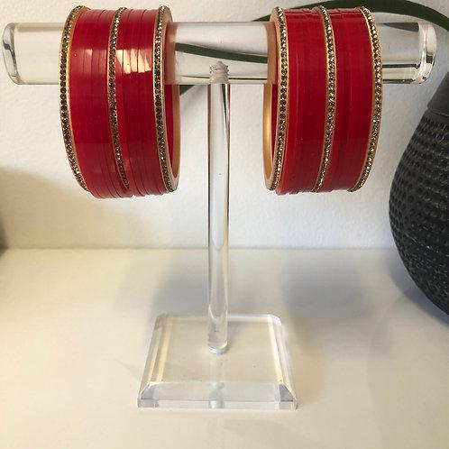 PREET Plastic Bangles - Red