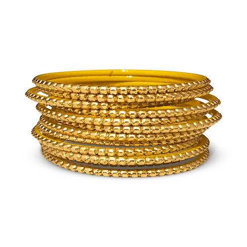36 Gold Dotted Bangles