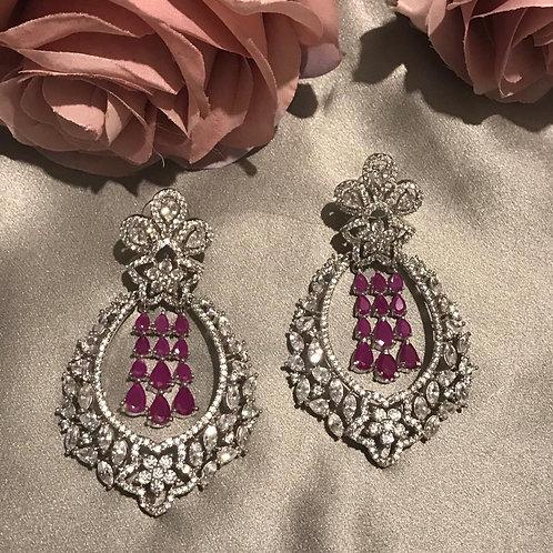 Silver / Ruby - REGAL AD Cubic Zirconia Earring