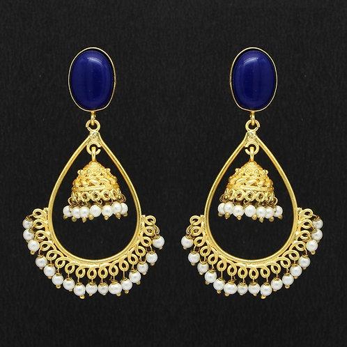 Blue Color Glass Stone Amrapali Earrings