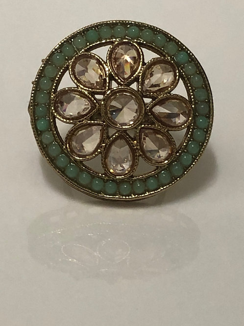 MINT/PISTA Statement Kundan Styled Ring (Adjustable)