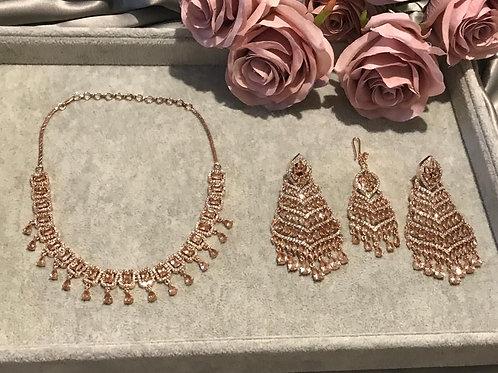 TANISHQ Golden Cubic Zirconia Earring & Tikka Set (with Polki)