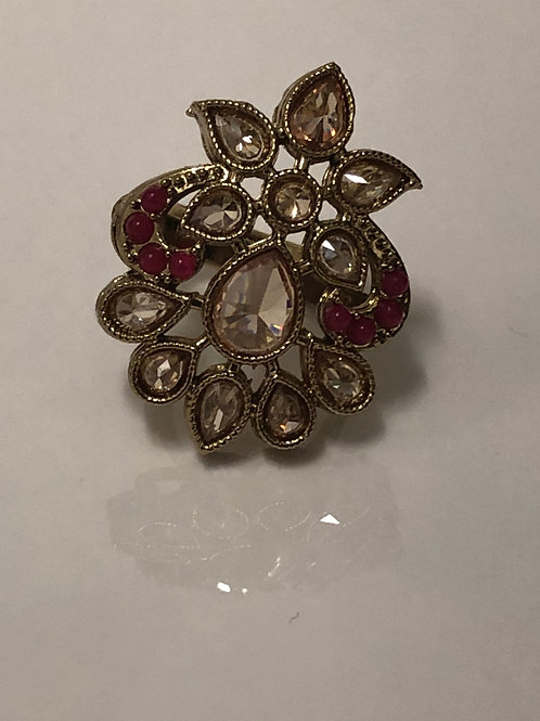 RED Statement Kundan Styled Ring (Adjustable)