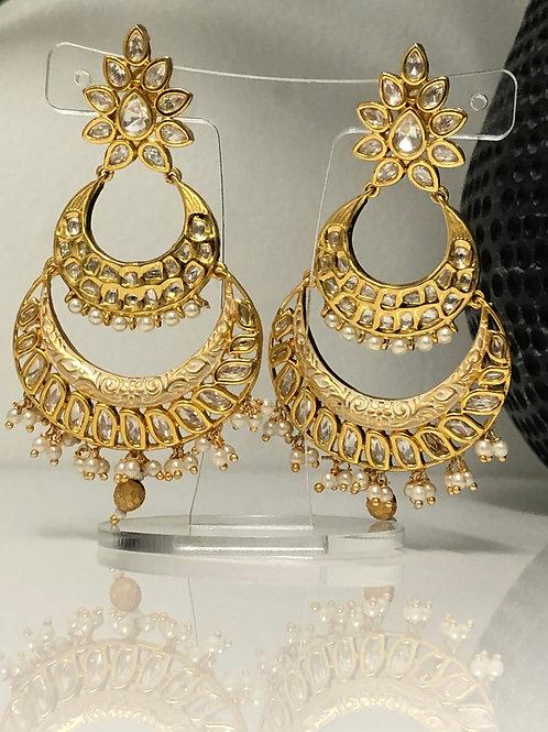 Gold Plated Kundan Earrings (with Meenakari)