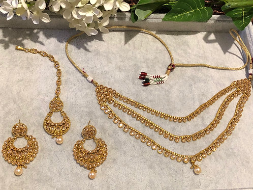NEHA Gold Plated Necklace, Earring & Tikka Set
