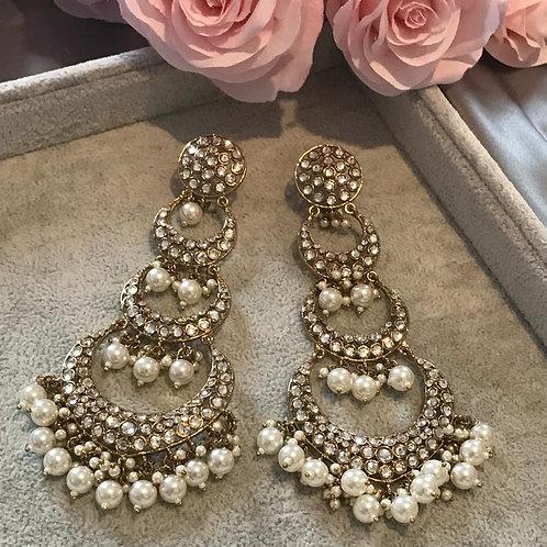 MISHA Silver Long Drop Earrings