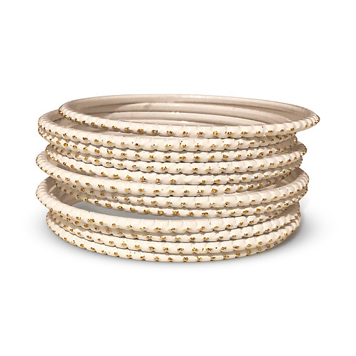 36 Pearl White Dotted Bangles