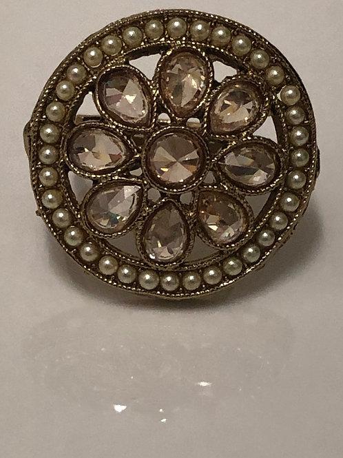 GOLDEN PEARL Statement Kundan Styled Ring (Adjustable)