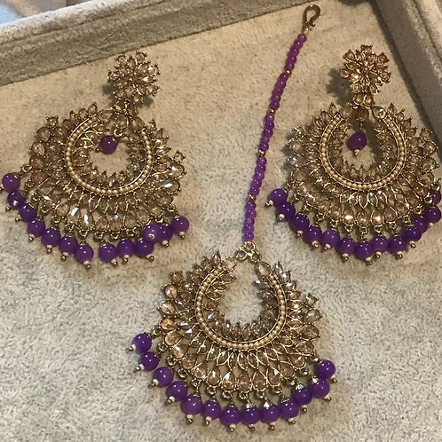 PAYAL Purple Earring & Tikka Set