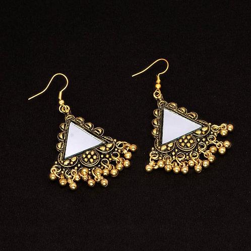 Gold Color Mirror Work Oxidised Drop Earrings