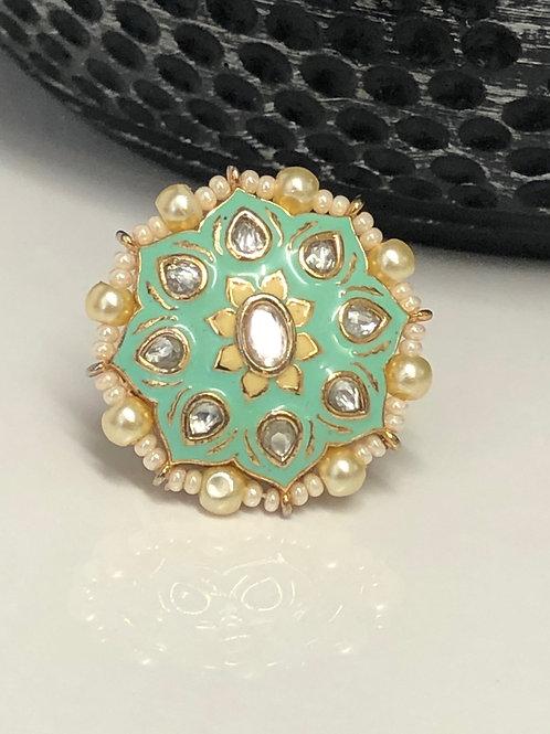 Pista Green, Polki Kundan Style Ring (Adjustable)