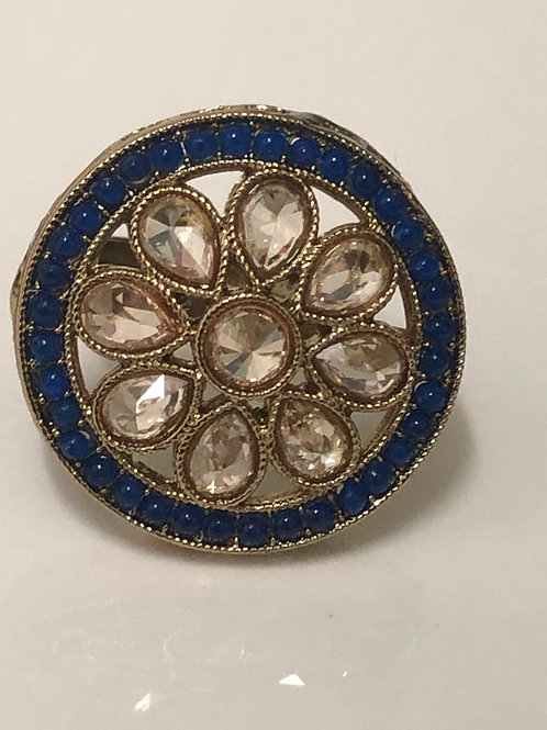 ROYAL BLUE Statement Kundan Styled Ring (Adjustable)