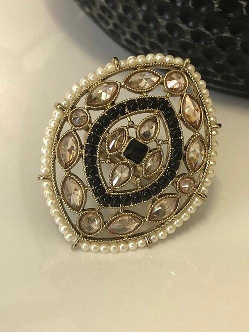 Black Large Polki Ring