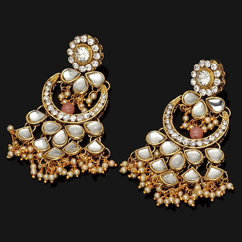 Peach Color Kundan Earrings For Girls & Women