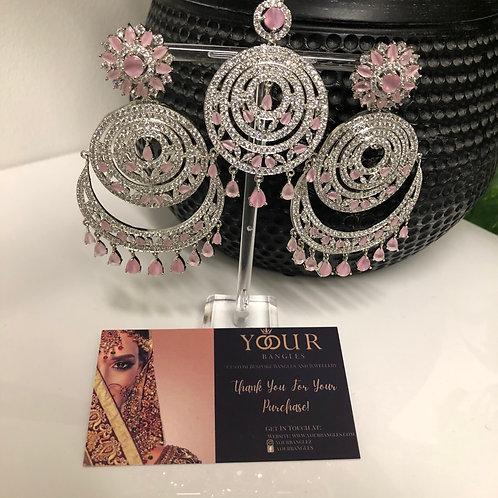 Baby Pink Earring Tikka Set