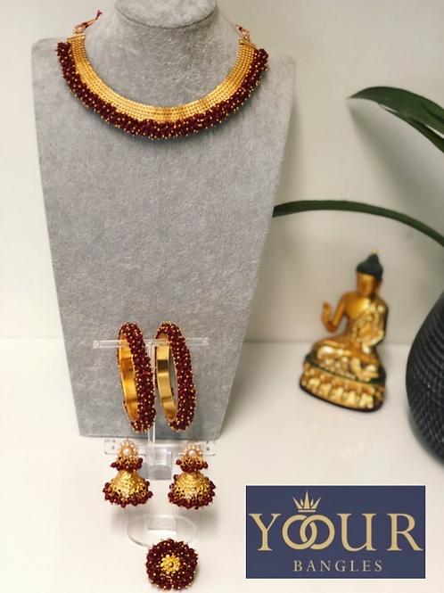 KHUSHI Maroon Polki Choker Necklace Set