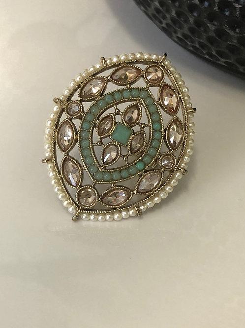 Parot Green Large Polki Ring
