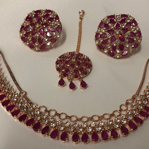 TANISHQ Ruby/Rose Gold CUBIC ZIRCONIA Necklace Set