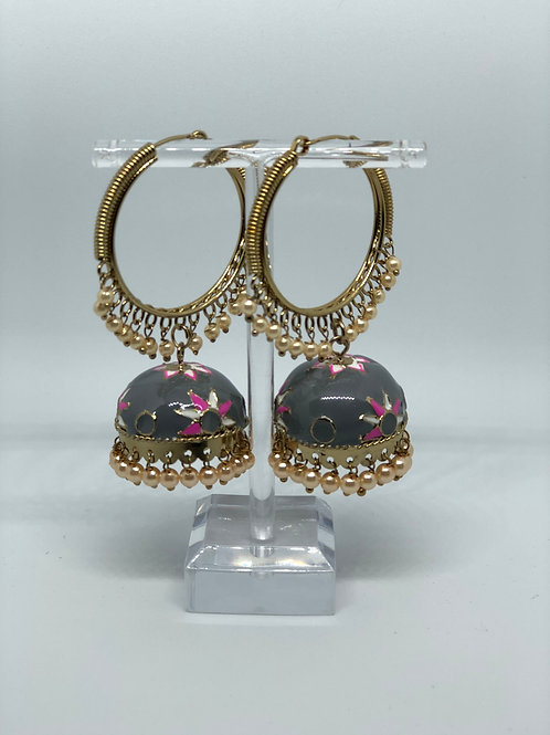 Grey MEENAKARI Jhumki Earring (Hand Painted)