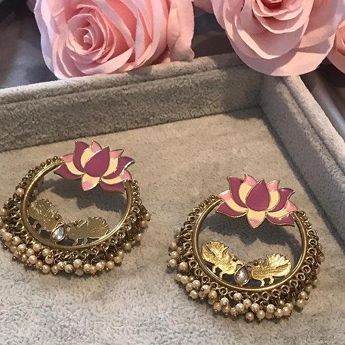 LOTUS Purple/Pink Earrings