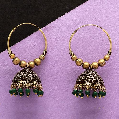 Emerald Green Colour Beads Traditional Jhumka Earrings