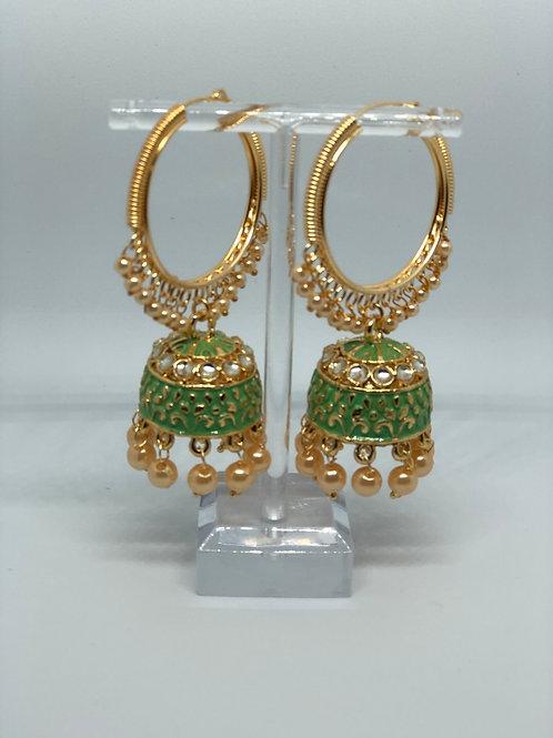 Lime Jhumki Earrings (Hand Painted)