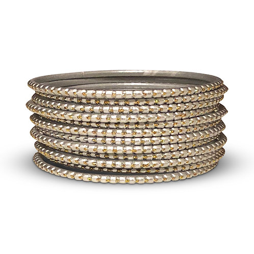 36 Silver Dotted Bangles
