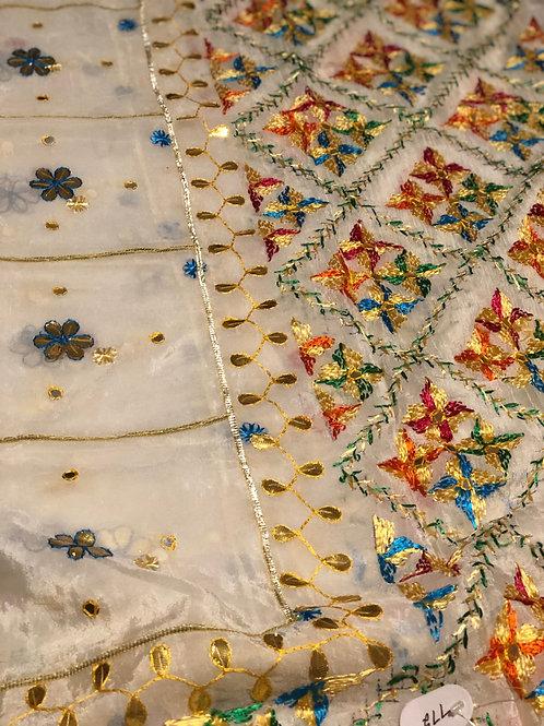 White Traditional Phulkari Dupatta