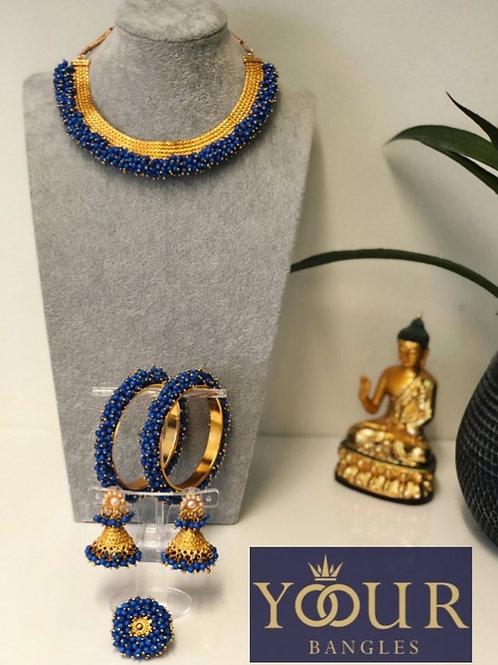 KHUSHI Pastel Blue Polki Choker Necklace Set