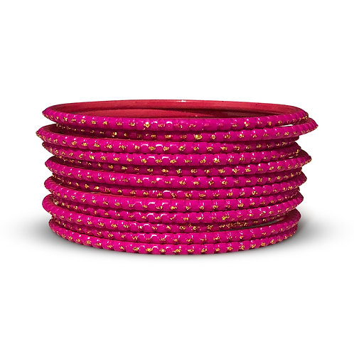 36 Fluorescent Pink Dotted Bangles