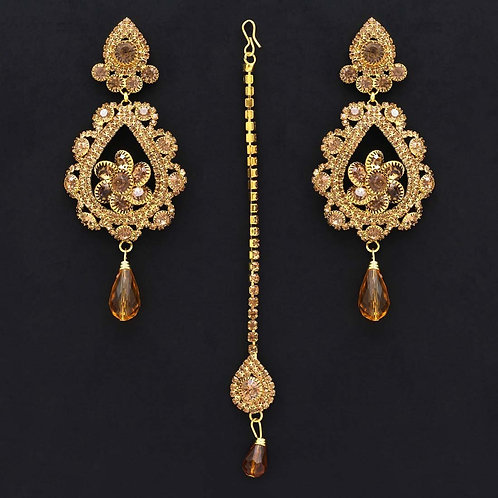 Gold Color Rhinestone Maang Tikka With Earrings