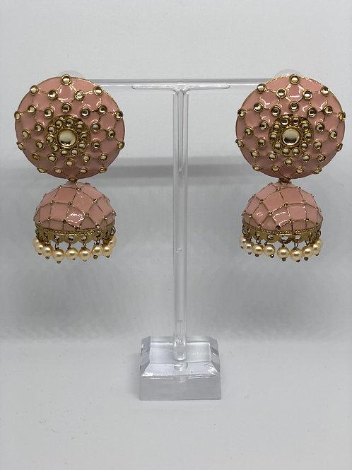 Subtle Pink MEENAKARI Earrings (Hand Painted)