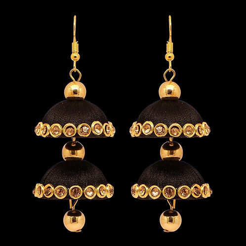 Black Color Glass Stone Thread Earring