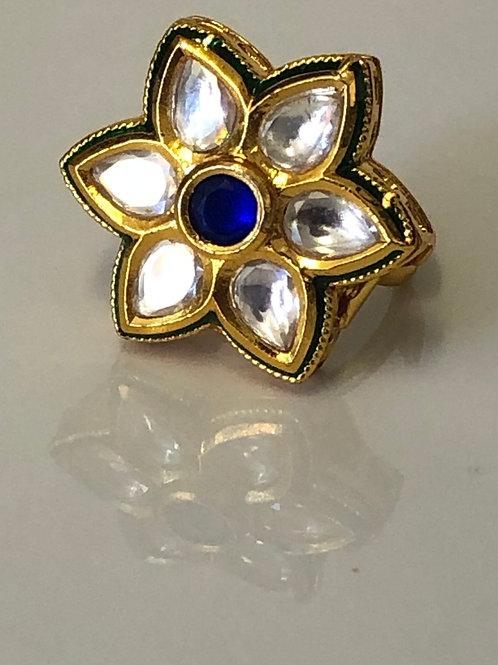 Star Kundan Ring - Royal Blue