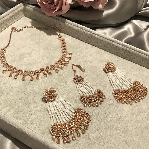 Golden Cubic Zirconia Necklace,Earring & Tikka Set (with Polki)