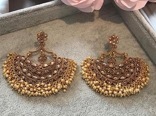 TANISHQ Golden Polki Earrings