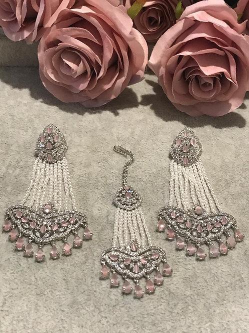Baby Pink Cubic Zirconia Earring & Tikka Set (with Polki)