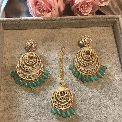 ISHIKA Sea Green AD Earring & Tikka Set