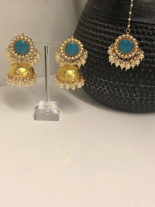 ROMIKA Sea Blue Gold Plated PACHI KUNDAN Earring & Maang Tikka Set