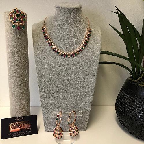 TANISHQ Multi/Rose Gold CUBIC ZIRCONIA Necklace Set