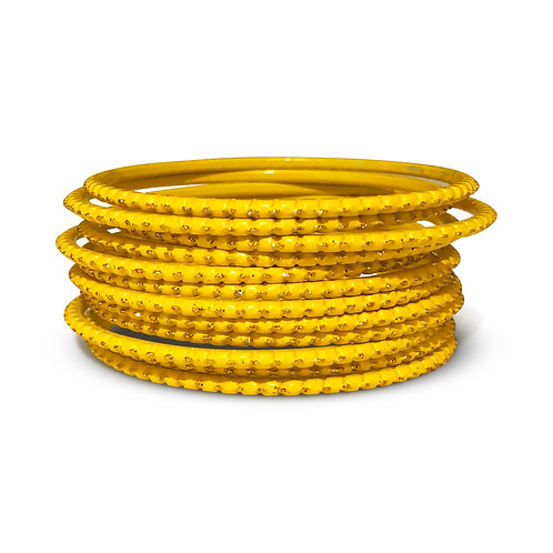 36 Yellow Dotted Bangles