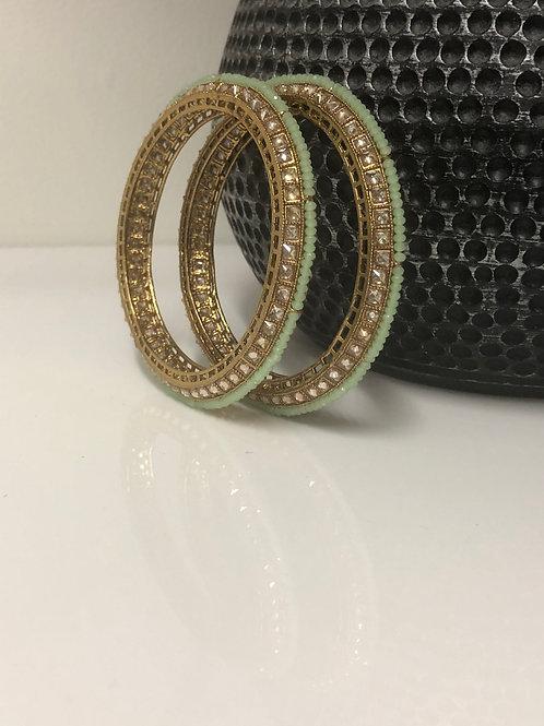 SIYA Pista Green Kangans - Set of 4