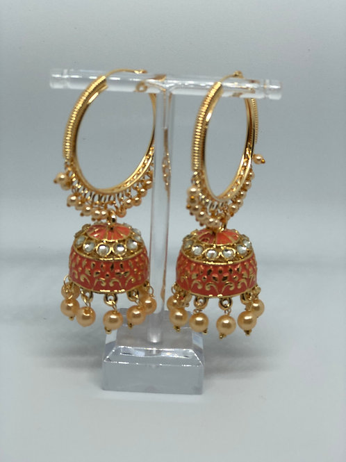 Orange Jhumki Earrings (Hand Painted)