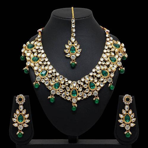 Green Color Imitation Pearl & Kundan Necklace With Earrings & Maang Tikka