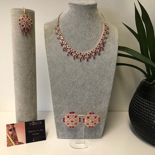 TANISHQ Ruby CUBIC ZIRCONIA Necklace Set
