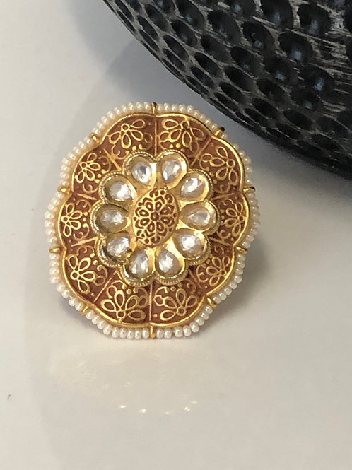 REGAL Kundan, Polki & Meenakari Ring (Adjustable)