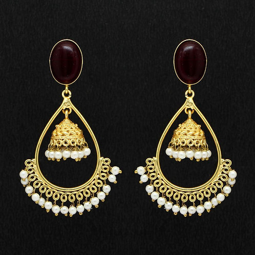 Maroon Color Glass Stone Amrapali Earrings