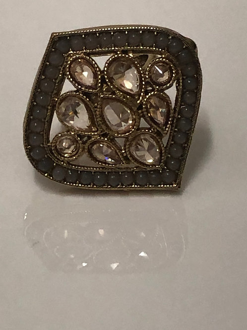 GREY Statement Kundan Styled Ring (Adjustable)