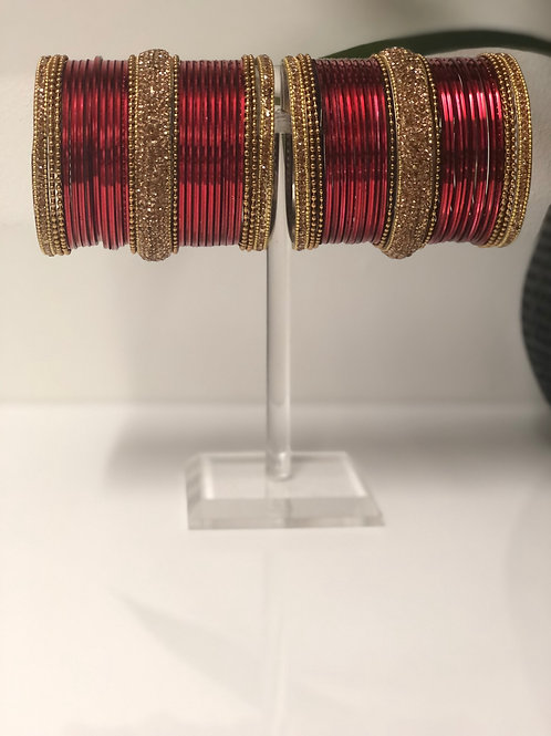 VALENTINE  - Dark Red Bangle Set
